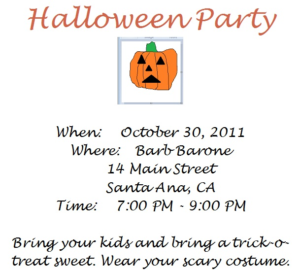 Windows 7 Wordpad And Paint Halloween Party Invitation
